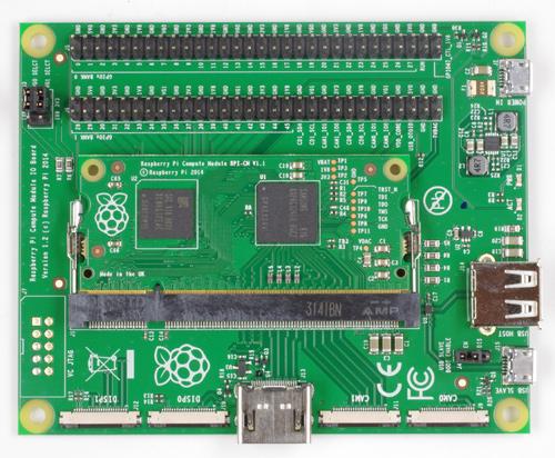 黒いチップが2つ載った小さい基板がCompute Moduleです。
