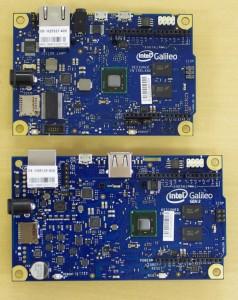 上が従来のIntel Galileo、下がさっき届いたIntel Galileo Gen2です。