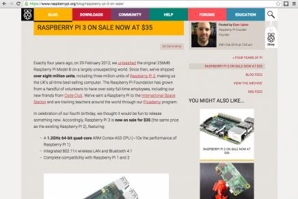 Raspberry Pi 3が登場しました。