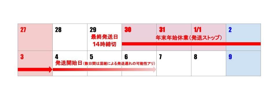 12月30日から1月3日までお休みです。